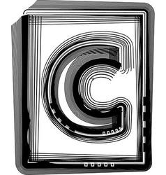 Striped font letter c vector