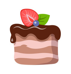 sweets isolated piece of cake with dark topping vector image