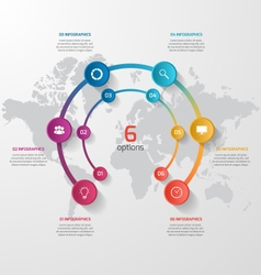 Circle infographic template with 6 options vector