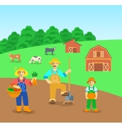Farming family in farm field flat background vector
