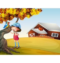 A girl and a bird at the backyard vector
