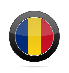 Flag of romania shiny black round button vector