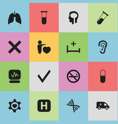 set of 16 editable health icons includes symbols vector image