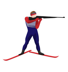 Biathlonist with small-bore rifle standing on skis vector