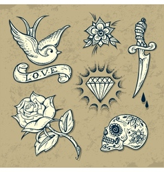 Set of Old School Tattoo Elements vector image