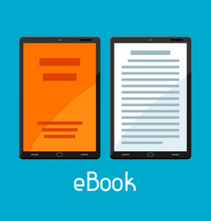 E-book concept tablets with book digital library vector