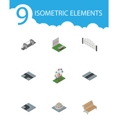 Isometric architecture set of path aiming game vector