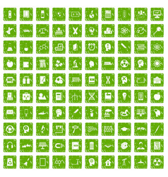 100 education icons set grunge green vector