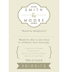 Wedding invitation gold ribbon theme vector