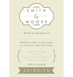 Wedding invitation gold ribbon theme vector