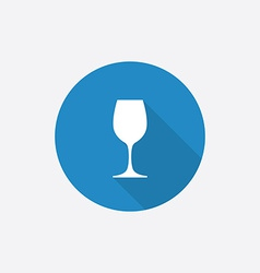 Wineglass flat blue simple icon with long shadow vector