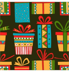 Seamless pattern of gift packages christmas gifts vector