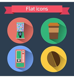 Flat icons vending machines and coffee bean coffee vector