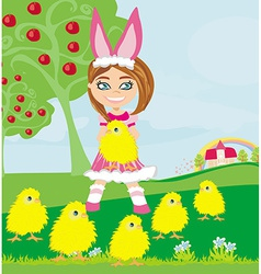 Girl in bunny costume and sweet small chicks vector