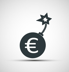 Icon round bomb with a picture of the euro sign vector