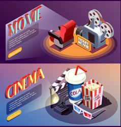 3d cinema banners collection vector