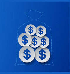 Dollar signs and money bag blue background vector