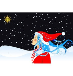 Christmas star and girl vector