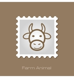 Cow stamp animal head vector