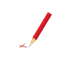 Red pencil with check mark vector