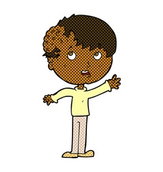 Comic cartoon boy with growth on head vector