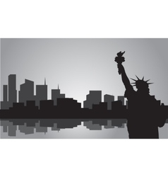 Silhouette of statue liberty vector