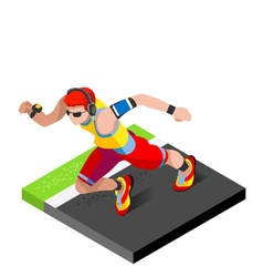 Marathon runners fitness working out 3d flat image vector