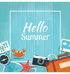 Summer traveling template with wooden background vector image
