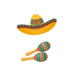 An of sombrero and maracas mexican traditional vector