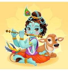 Baby krishna with sacred cow vector