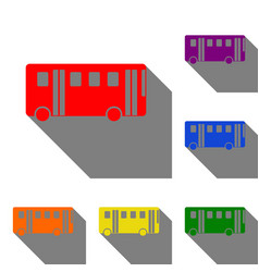 Bus simple sign set of red orange yellow green vector