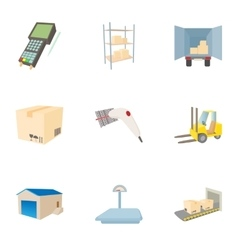 Cargo icons set cartoon style vector