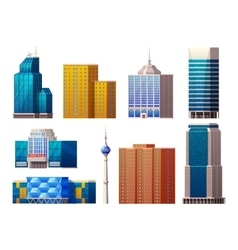 Colorful Modern Buildings Set vector image