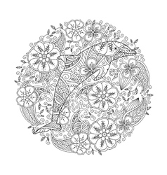 Coloring page with dolphin in floral circle vector