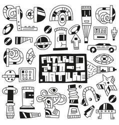 Devicesfuturerobots toys - doodles vector