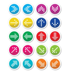 Dotted colorful arrows round icons set isolated on vector image