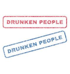 Drunken people textile stamps vector
