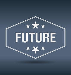 Future hexagonal white vintage retro style label vector