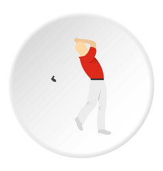 Golf player in a red shirt icon circle vector