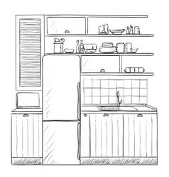 Hand drawn kitchen furniture sketch vector