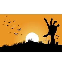 Hand zombie and bat halloween backgrounds vector