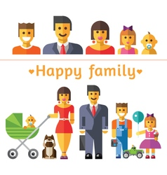 Icon set happy family vector