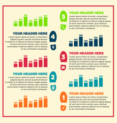 Infographics elements - steps and line chart vector