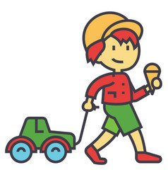 Kid carries a toy car for the rope with ice cream vector