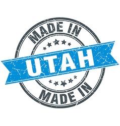 Made in utah blue round vintage stamp vector