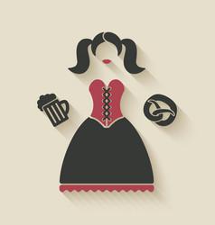 Oktoberfest girl with beer mug and pretzel vector