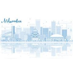 Outline milwaukee skyline with blue buildings vector
