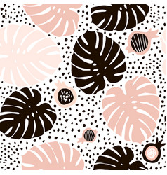 Palm branch trendy seamless pattern with hand vector