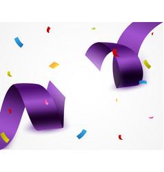 Purple ribbon with confetti vector