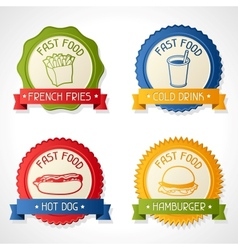 Set of badges with burger hot dog french-fry and vector image vector image